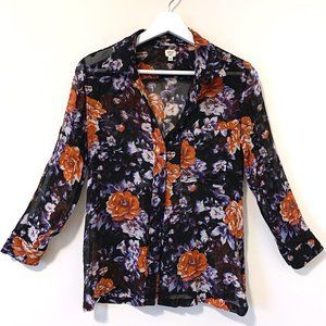 Artiza Wilfred Black Floral Sheer Button Shirt